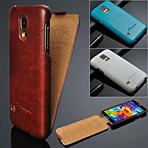 Top Flip-Open PU Leather Case Cover for Samsung Galaxy S5 i9600 - 6 Colors