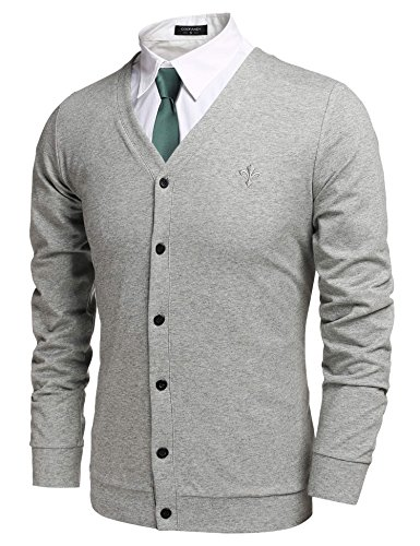 Coofandy men 39 s casual v neck long sleeve button down for Mens grey button down dress shirt