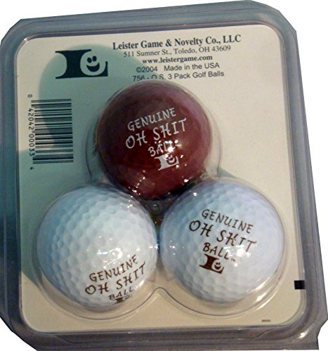 Genuine Oh Shit Golf Ball Gag Gift 3 Pack