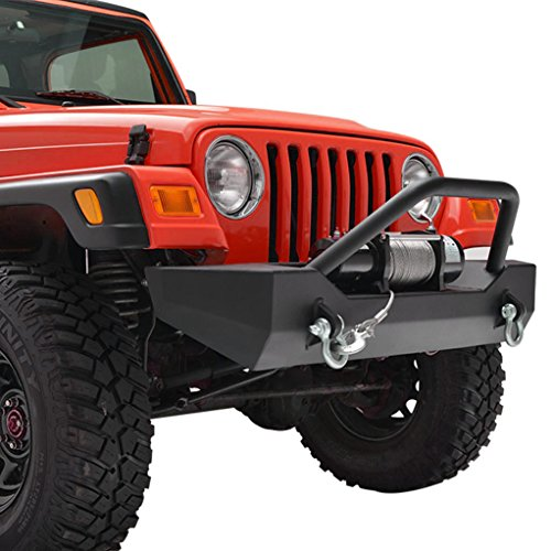 X-restyling Front and Rear Bumper Combo with Tire Carrier for Jeep Wrangler TJ YJ