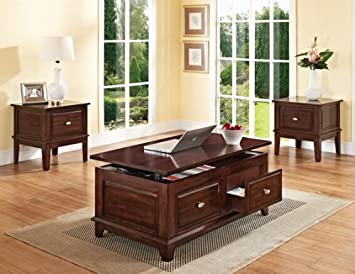 Mahir walnut finish wood lift top coffee table with storage drawers