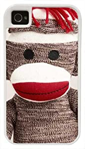 CellPowerCasesTM Sock Monkey - Protective 2 Layer iPhone 4 White Case - Fits iPhone 4 & iPhone 4S