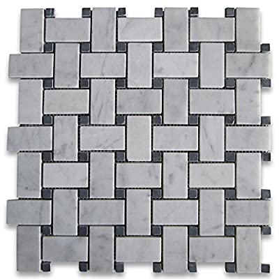 Carrara White Italian Carrera Marble Basketweave Mosaic Tile Black Dots 1 x 2 Honed by Stone Center Online