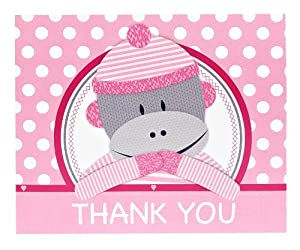 Sock Monkey Pink Thank-You Notes (8)