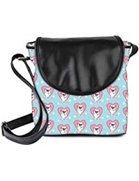 Snoogg Pugs And Kisses Cute Womens Sling Bag Small Size Tote Bag