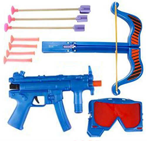 SWAT Crossbow and Gun Dart Play-set - Includes Gun, 4 Suction Cup Darts, Crossbow, 3 Suction Cup Arrows, SWAT Goggles - Play Kreative TM