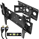 Cheetah Mounts APDAM2B Plasma LCD Flat Screen TV Articulating Full Motion Dual Arm Wall Mount Bracket for 32 to 55-Inch Displays Up To 165Lbs (Black)