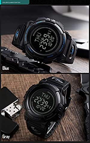 Men's Military Sports Digital Watch With Survival Compass 50M Waterproof Countdown 3 Alarm Stopwatch (Black)
