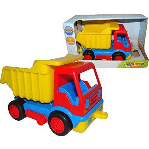 Kipper-LKW-Basics-mit-Anhngerkupplung-und-Gummibereifung-23-x-12-cm-Klein-Kinder-Auto-Baufahrzeug-Sandkasten-Spielzeug-Fahrzeuge