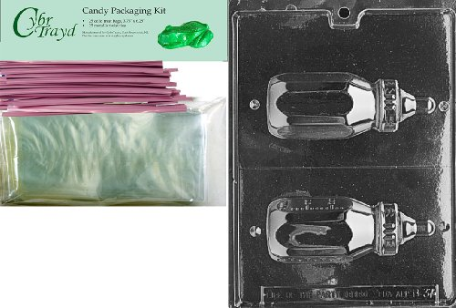 """Cybrtrayd """"4-Ounce Baby Bottle"""" Baby Chocolate Candy Mold With Packaging Bundle, Includes 25 Cello Bags And 25 Pink Twist Ties front-889054"""