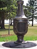 The Blue Rooster Cast Aluminum Venetian Chiminea in Gold Accent