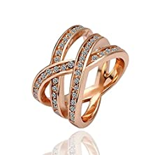 buy [Dazzling Series] Glamorous Women'S Triple Row Brass Plated With Rose Gold Cz Crystal Crossover Cocktail Stackable Ring [Mr.Tie] Exquisite Fashion Rings