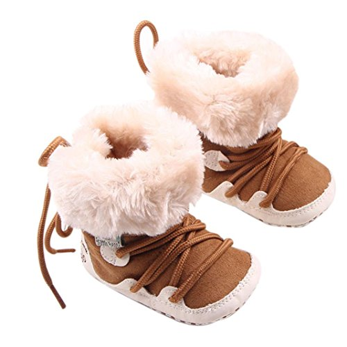 Voberry® Baby Infant Girls Flat Snow Fashion Cute Booties Boots (4-8momths, Khaki)