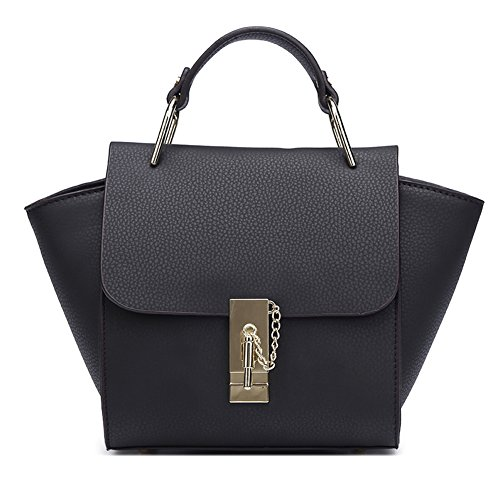 Eilen Women's Genuine Leather Shoulder Tote Bag (Black)