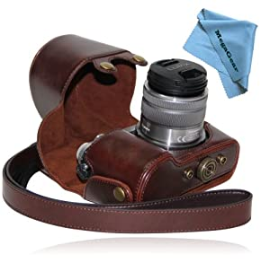 """MegaGear """"Ever Ready"""" Protective Dark Brown Leather Camera Case , Bag for Panasonic LUMIX GX7 with 14-42mm and 20mm Lens"""