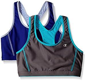 Champion Women's 2-Pack Reversible Racerback Sport Bra,Medium Gray/Pelican Blue/Sapphire/Peri,Medium