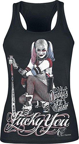 Suicide-Squad-Lucky-You-Mujeres-Camiseta-Sin-Mangas-Negro-Tamao-X-Large