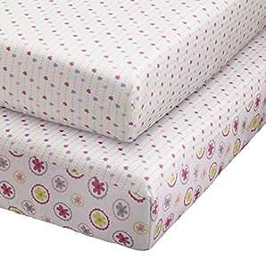 .com : Pattern Play 2 pieza amueblada Hojas Cuna, Rosa / Gris : Baby
