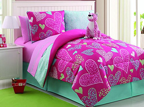 7 Pc Reversible Leapord/Heart Comforter Set Bed In A Bag Twin Size Bedding By Plush C Collection