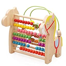 Little Star Classic Wooden Abacus And Circle Bead Maze Game