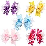 10pc White Dot Boutique Windmill Style Hair Bows Girls Baby Alligator Clip Grosgrain Ribbon Headbands