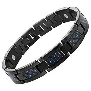 Nouveauté Bracelet Aimanté homme en titane noir et Incrustations de fibre carbone bleue, Ustensile ajusteur inclus