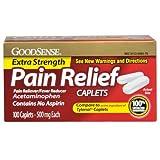 Good Sense Acetaminophen Extra Strength, Pain Reliever/Fever Reducer Caplets, 500 mg, 100 Count
