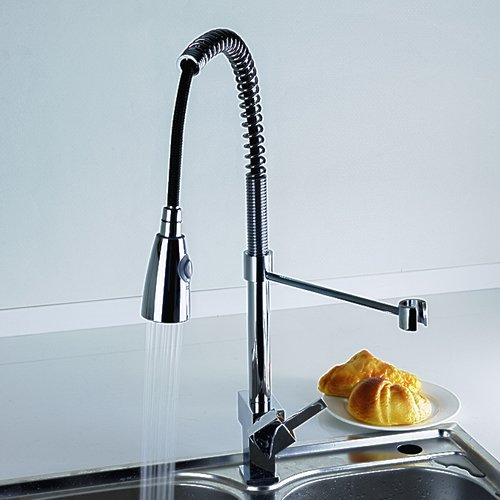 Single Handle Chrome Centerset Pull-out Kitchen Faucet