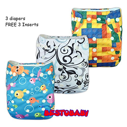 Besto Baby Resuable All In One Baby Pocket Cloth Diapers 3 Diapers Covers + 3 Micro Fiber Inserts Set (All In One) back-831467
