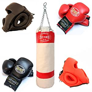 2 Pairs Of Pro Torino Boxing Gloves & Heavy Duty Canvas Punching Bag & 2 Pairs Of Head Gear