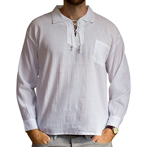 Cotton summer ethically traded drawstring shirt, long sleeves - from Ecuador made for Tumi - light weight cool material. White and Large