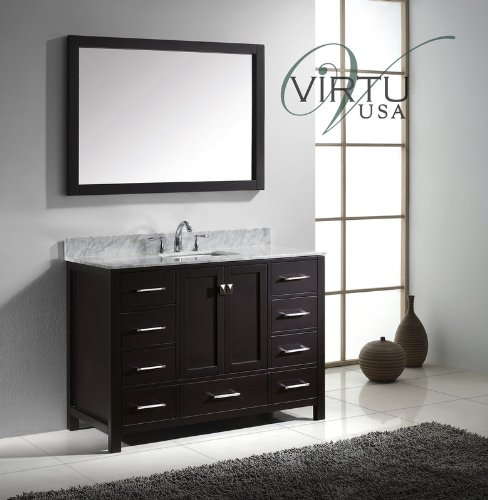 Virtu Usa Gs-50048-Wmsq-Es Caroline Avenue 48-Inch Bathroom Vanity With Double Square Sinks In Espresso And Italian Carrara White Marble