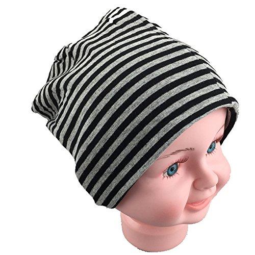 baby-ninos-jersey-slouch-beanie-long-gorro-con-rayas-unisex-algodon-trend-negro-gris-small