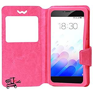 Jkobi Caller ID 360* Protection PU Leather Flip Case Cover For HTC One E9s Dual SIM (Universal) -Pink
