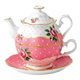 Royal Albert New Country Roses Vintage Single Serving Teapot, Cheeky Pink