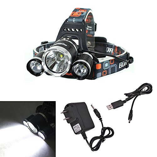 Ljy 1800Lm Cree Xm-L T6 Led + 2-Led Xpe White Light 4-Mode Headlamp Headlight With Usb Charging Cable & Ac Charger Set