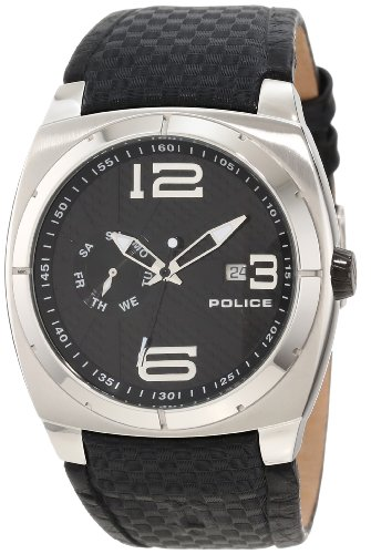 Police Men's Eclipse Watch 12675Js/02 with Black Leather Strap and Black Dial