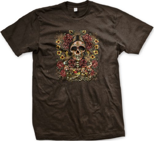 Painted Sugar Skull Mens Tattoo T-Shirt, Old School Dia De Los Muertos Tattoo Mens Shirt, Xxx-Large, Brown