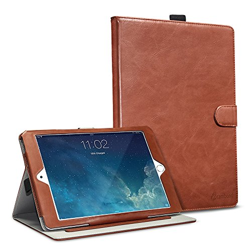 iPad Air 2 Case, Cambond Ultra Slim / Light Weight Smart Stand Case Cover with Card Slots and Stylus Holder, Protective Premium PU Leather Cover Case for Apple iPad Air 2 (Brown) (Protective Covers For Ipad 2 compare prices)
