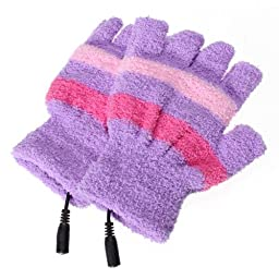USB Gloves Mittens Hand Woolen Fingerless Heating Warmer Strip Purple by MECO