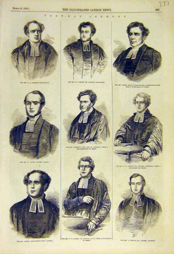 1855 Fast-Day Sermon Reverend Portraits
