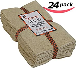 "Utopia Kitchen All-Purpose Bar Mop Towels, Cotton, Professional Grade for Home Kitchen or Restaurant Use - 24-Pack (16"" x 19"")"
