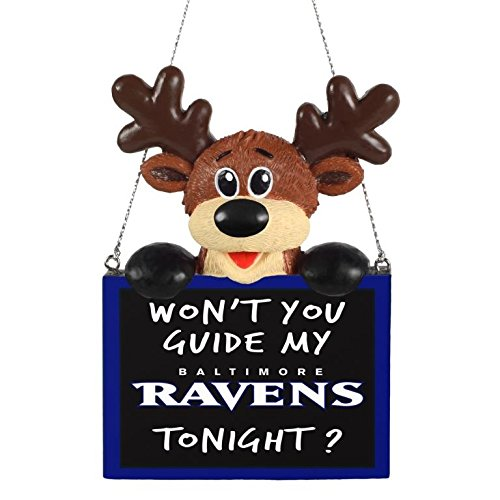 NFL Football Team Logo Reindeer With Sign Ornament - Pick Team (Baltimore Ravens)