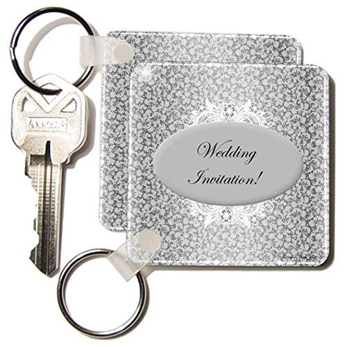 Kc_39504_1 Edmond Hogge Jr Wedding - Silver And White Wedding Invitation - Key Chains - Set Of 2 Key Chains
