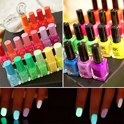 LKE One Set (20 Color) Fluorescent Neon Luminous Nail Polish for Glow in Dark Nail Varnish Nail Enamel