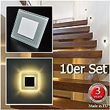 10er Set LED Design Warmweiß SUN-LED Einbauleuchten 75x75mm Glas-Alu Hochwertig Treppenlicht Wand Stufen Treppen Beleuchtung