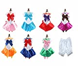 【ELEEJE】 セーラームーン 風 コスプレ 美少女戦士 衣装 セーラー服 ハロウィン コスチューム (M, グリーン)