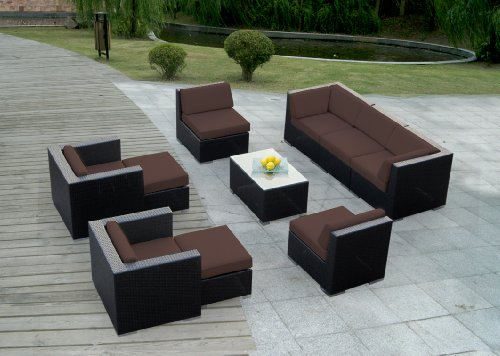 1 Genuine Ohana Outdoor Patio Wicker Sofa Sectional Furniture 10pc Couch Set With Free