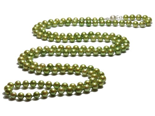 Ines - Long Green Pearl Necklace