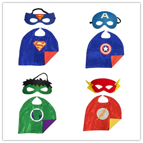 Maxagathe Superhero Cape and Mask Costumes 4 set For Kids - Style C